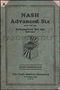 1929 Nash Advanced Six Owner U0026 39 S Manual Original