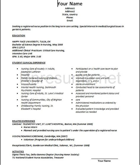 new grad nursing resume clinical experience 10 new grad nursing resume sample samplebusinessresume