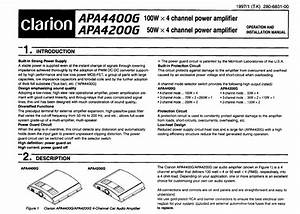 Clarion Stereo Amplifier Apa4400g User Guide