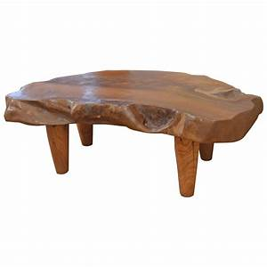 Natural teak wood coffee table for sale at 1stdibs for Organic wood coffee table