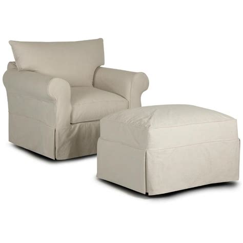 klaussner jenny slipcover chair ottoman with rolled arms