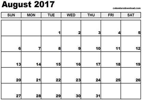 Calnedar Template by August 2017 Calendar Printable Templates Printable