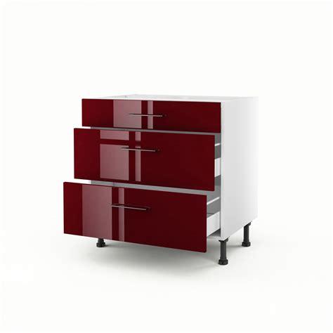 meuble de cuisine bas rouge 3 tiroirs griotte h 70 x l 80