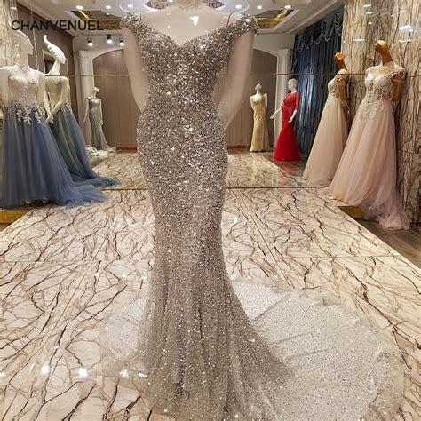 ls luxury mermaid evening dress sexy bling sequins