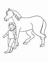 Horse Walking Boy Coloring Pages sketch template