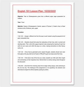 college lesson plan template sample blank lesson plan With outline of a lesson plan template