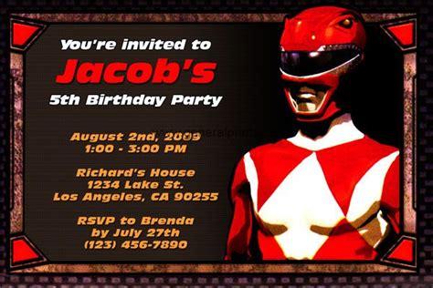 printable power ranger birthday invitations power