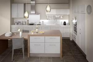 une cuisine lapeyre modele de style et confort archzinefr With idee deco cuisine avec cuisine bois et blanc
