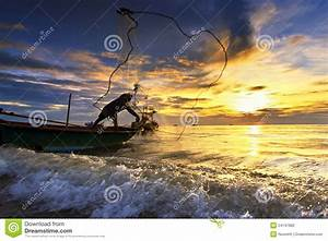 Throwing Fishing Net During Sunset Stock Photo - Image ...