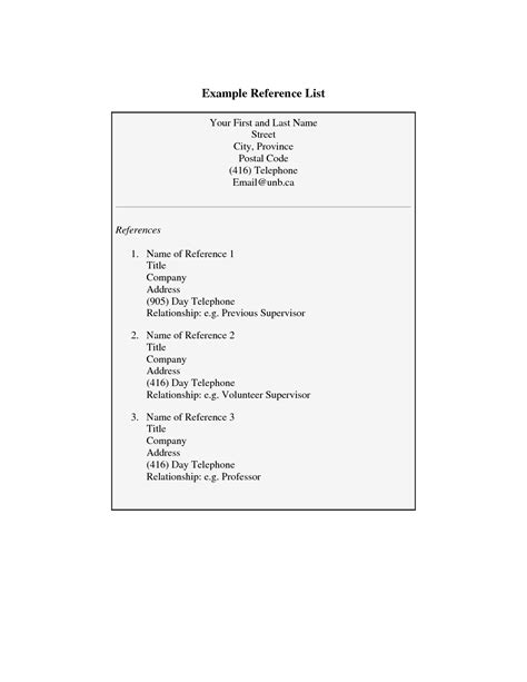 personal reference list template 28 images personal
