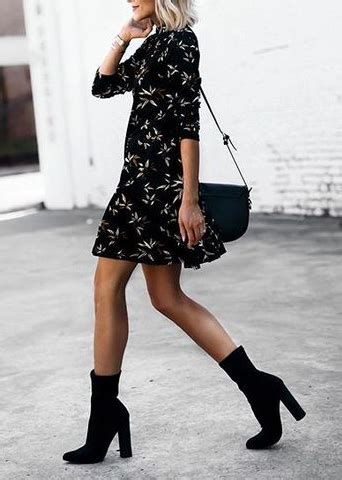 Classically chic silk shirt dress block heel ankle boots ...