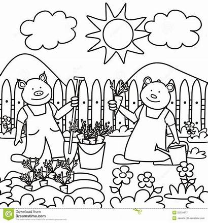 Coloring Children Bear Pig Garden Working Books