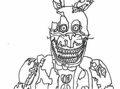 Fnaf Coloring Nights Pages Five Bonnie Nightmare