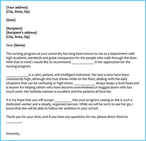 letter of recommendation for nursing school reference letter exles 20 sles formats writing
