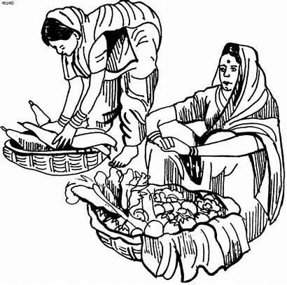 Vendor Vegetable Village Drawing Market Sketch Maya