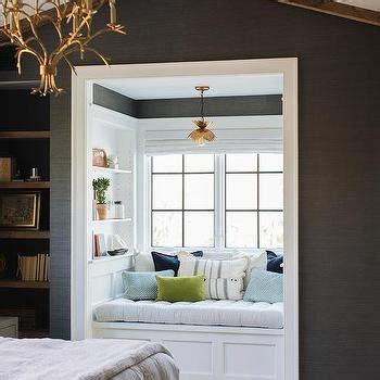 gray bedroom  fornasetti nuvole wallpaper