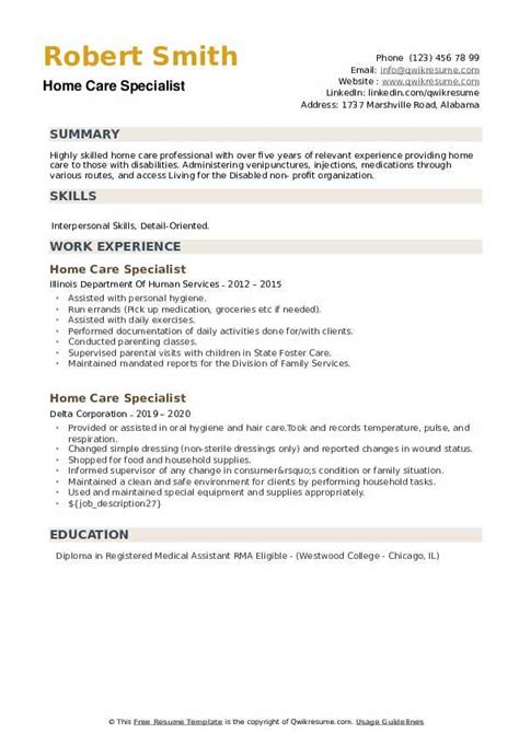 home care specialist resume samples qwikresume