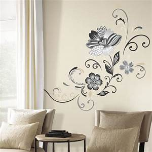 black and white flower scroll peel and stick giant wall With black wall decals