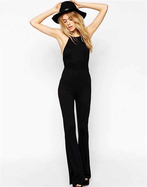 halter jumpsuits asos asos flare jumpsuit with halter neck at asos