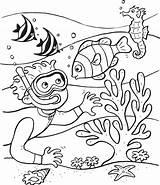 Coloring Ocean Scuba Diving Printable sketch template