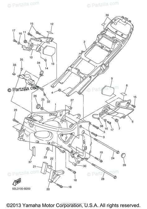 yamaha motorcycle 2005 oem parts diagram for frame partzilla com