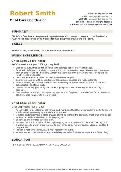 child care coordinator resume samples qwikresume