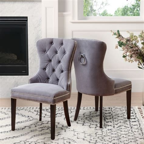 shop abbyson versailles grey tufted dining chair  sale