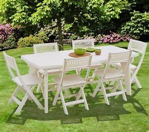 Salon De Jardin 6 Personnes : merveilleux table jardin plastique blanc 3 salon de ~ Dailycaller-alerts.com Idées de Décoration