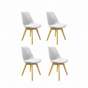 Lot 4 Chaises Scandinaves : lot 4 chaises style scandinave assise blanche lidy ~ Teatrodelosmanantiales.com Idées de Décoration