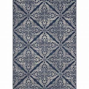 Blue area rug square grey blue floral pattern wool carpet for Blue carpets designs