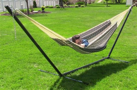 extra large thick cord hammock stand  lb capacity  person black natural sunnydaze