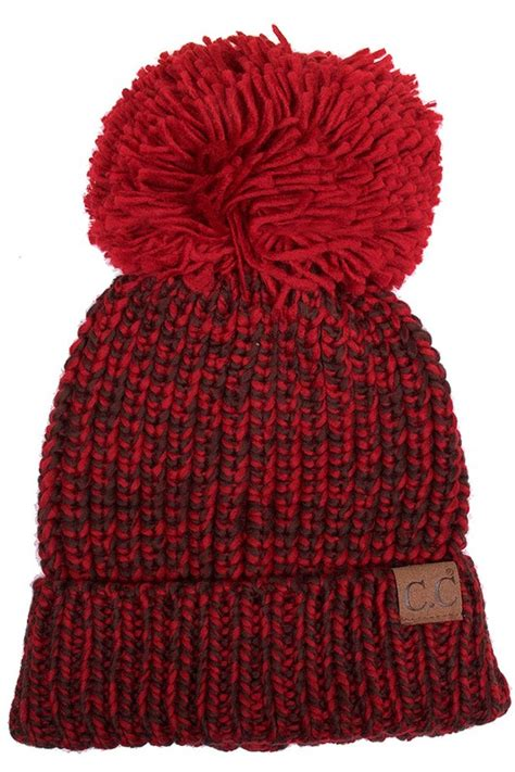 Great savings & free delivery / collection on many items. Burgundy/Coffee Chunky Knit Beanie Hat by CC Brand