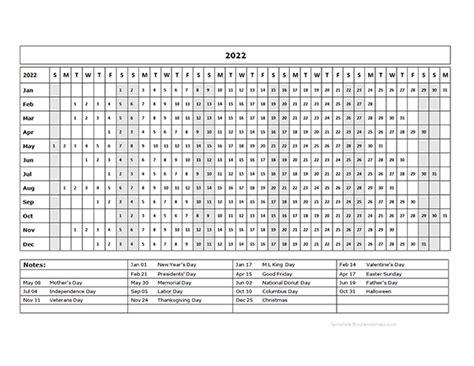 calendar template year   glance  printable