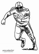 Football Coloring Pages Player Players Nfl Drawing Drawings Printable Clipart Cartoon Boys Sports Clip Printables American Sheets Footballs Printcolorfun Template sketch template