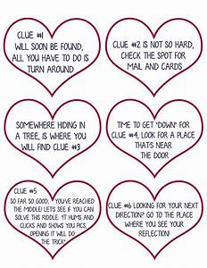 Valentine Scavenger Hunt For Kids Free Printable Clues