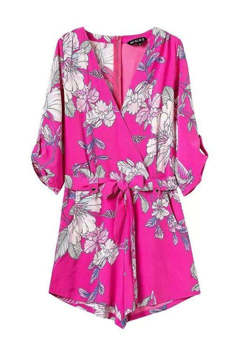 1378 Floral Silky Jumpsuit pink floral print silky chiffon romper rompers