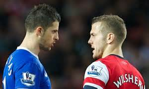 Kevin Mirallas squirts water at Jack Wilshere: Arsenal and ...