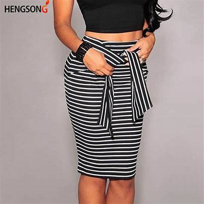 Skirt Skirts Pencil Striped Bodycon Knee Lady