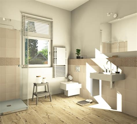 fliesen  holzoptik badezimmer wohnlich gestalten