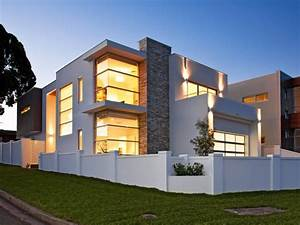 Concrete, Modern, House, Exterior, With, Balcony, U0026, Decorative, Lighting