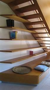 Etagere Escalier Bois : escalier en h tre balanc gauche au roves menuiserie md menuiserie bois marseille ~ Teatrodelosmanantiales.com Idées de Décoration