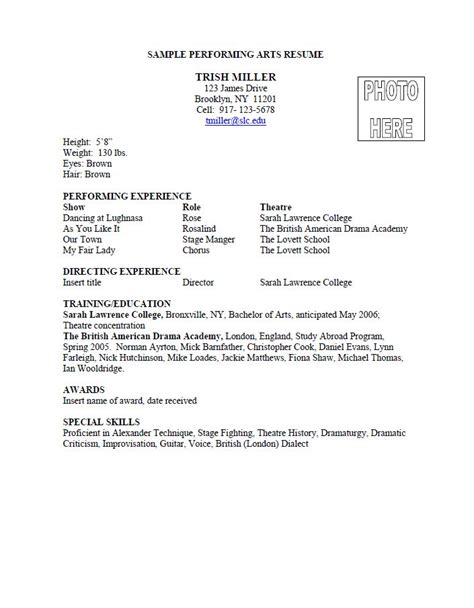 an exle of a performing arts resume from