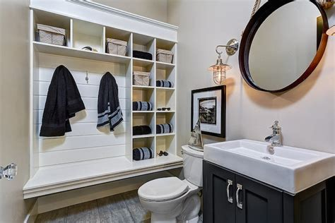 Powder Room Mudroom - Cottage - bathroom - Clark and Co Homes