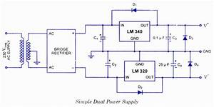 Using Lm320 And Lm340 Dual Power Supply Circuit And