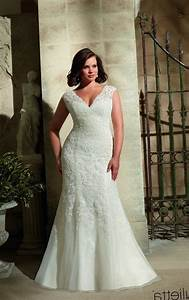 Plus size fitted wedding dresses pluslookeu collection for Fitted plus size wedding dresses
