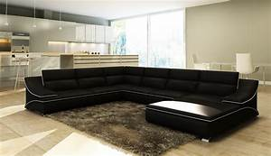 Grand Canapé D Angle : deco in paris canape d angle en cuir noir et blanc design roxane roxane angl noir blanc ~ Teatrodelosmanantiales.com Idées de Décoration