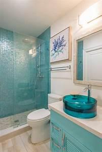 1001 designs uniques pour une salle de bain turquoise With carrelage bleu turquoise salle de bain