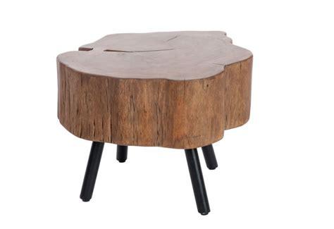 table basse forme tronc d arbre en bois massif et pied m 233 tal noir 6
