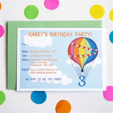 a birthday invitation rainbow balloon personalised birthday party invitations by