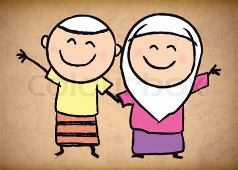 cute muslim boy  girl sketch background vector